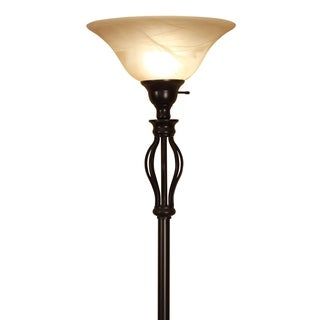 Traditional Iron Scrollwork Bronze Floor Lamp with Amber Glass Shade