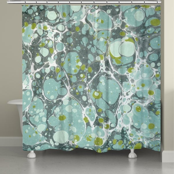 Laural Home Dusty Teal Marble Shower Curtain
