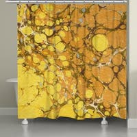 Laural Home Golden Mustard Marble Shower Curtain