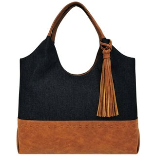 Bueno of California Canvas Tassel Tote Bag