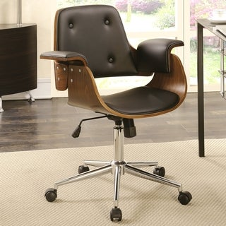 Mirage Adjustable Modern Curved Wood Black Upholstered Swivel Office Chair