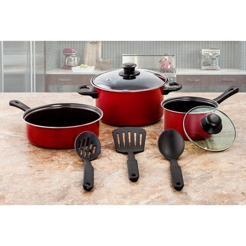 Carbon Steel 8 Pcs. Non Stick Cookware Set With Utensils