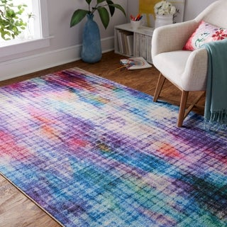 Mohawk Home Prismatic Linear Pixel Multicolor Area Rug (10 x 14) - Purple/Blue - 10 x 14 (10 x 14 - Purple/Blue)