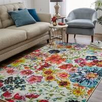 Mohawk Home Prismatic Blossoms Multicolor Area Rug (10' x 14') - Cream/Magenta/Navy - 10' x 14'