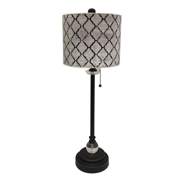 Royal Designs Oil Rub Bronze Lamp with Moroccan Tile Textured Lamp Shade