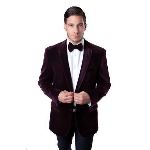 Men's Velvet Blazer Jacket Modern Fit Notch Lapel Wine Sports coat