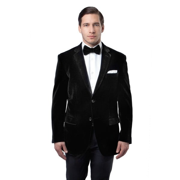Mens Velvet Blazer Jacket Modern Fit Black Notch Lapel Sportscoat