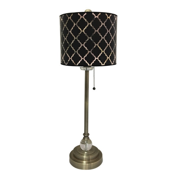 Royal Designs Antique Brass Lamp with Black Moroccan Tile Lamp Shade
