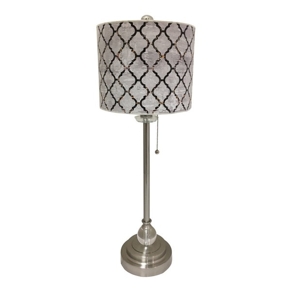 Royal Designs Brushed Nickel Lamp with Moroccan Tile Textured Lamp Shade