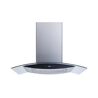 "Winflo O-WH102B36G 36"" Convertible Stainless Steel/Tempered Glass Island Mount Range Hood"