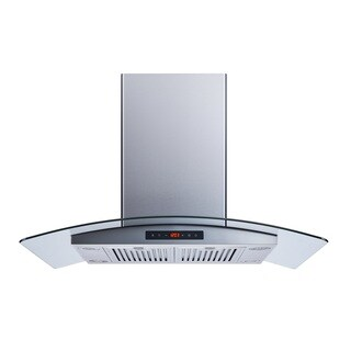 "Winflo O-WH101B36D 36"" Convertible Stainless Steel/Tempered Glass Island Mount Range Hood"