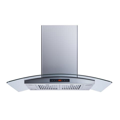 """Winflo O-WH101B36D 36"""" Convertible Stainless Steel/Tempered Glass Island Mount Range Hood"""