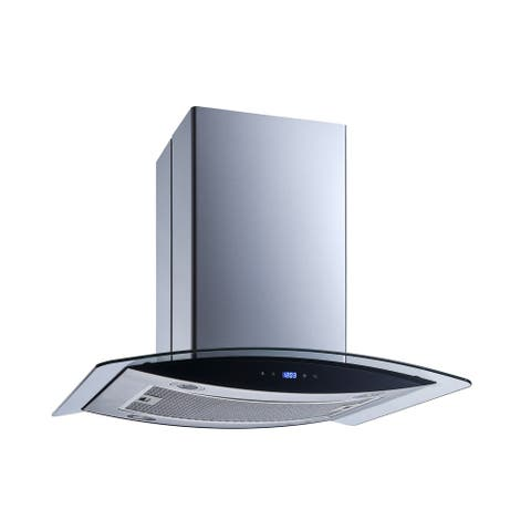"""Winflo O-WH102B30G 30"""" Convertible Stainless Steel/Tempered Glass Island Mount Range Hood"""