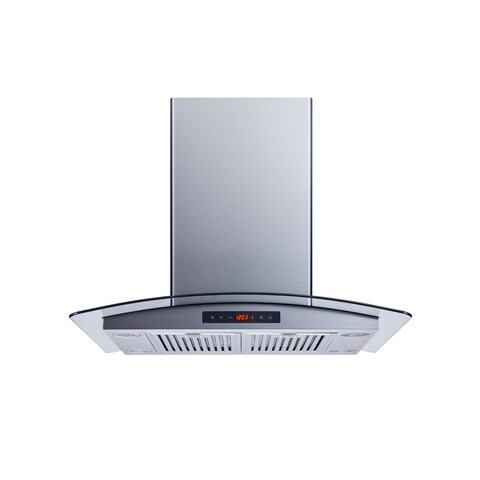 """Winflo O-WH101B30D 30"""" Convertible Stainless Steel/Tempered Glass Island Mount Range Hood"""