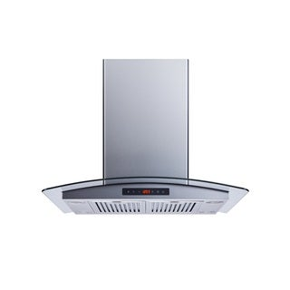 "Winflo O-WH101B30D 30"" Convertible Stainless Steel/Tempered Glass Island Mount Range Hood"