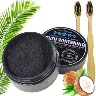 Natural Organic Activated Charcoal Whitening Powder & Toothpaste with 2 Toothbrushes