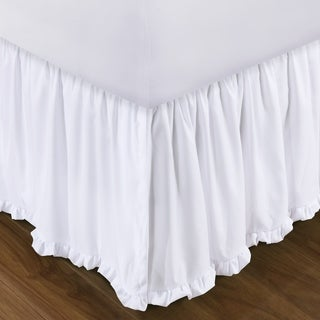 Shop Sasha White 15 Inch Drop Bed Skirt Free Shipping On