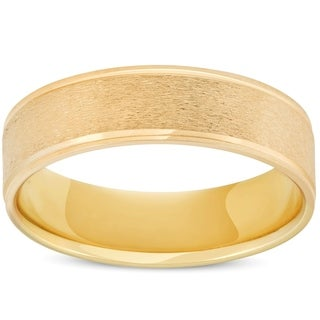 Bliss 10k Yellow Gold 6MM Brushed Mens Wedding Band