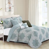 Serenta 6-piece Chelsea Printed Microfiber Quilts Coverlet Set