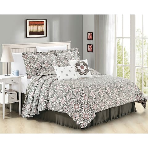 Serenta 6 Piece Coventry Printed Microfiber Quilts Coverlet Set - Lavender/Charcoal/White
