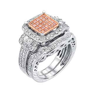 10k pink and white gold 069 ct tdw pink diamond halo engagement ring set - Pink Wedding Ring Set