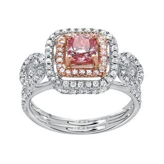 bellissimo 14k gold two tone 140 ct vivid pink lab grown diamond with small natural pink - Pink Wedding Rings