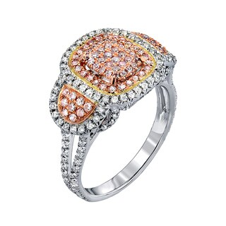 Bella by Vivanti 14k White Gold 1.00 ct TDW Netural Pink and White Round Diamond Engagement Ring (pink and white, I1-I2)