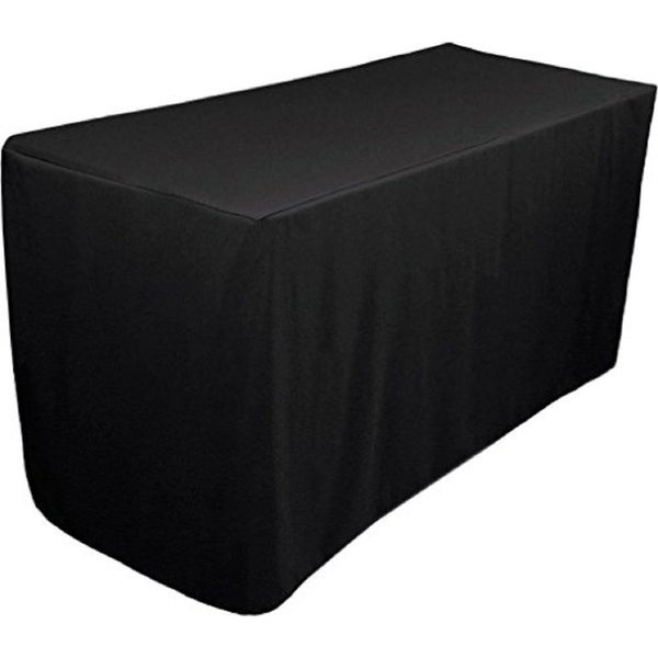 shop fitted tablecloth 6 feet rectangular table cover 30 x 72 black free shipping on orders. Black Bedroom Furniture Sets. Home Design Ideas