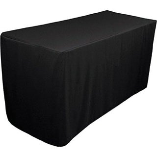 Fitted Tablecloth - 6 Feet Rectangular Table Cover 30 x 72 Black