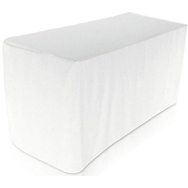 Fitted Tablecloth - 6 Feet Rectangular Table Cover 30 x 72 White