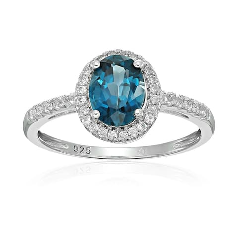 Sterling Silver Oval London Blue Topaz and White Topaz Ring, Size 7