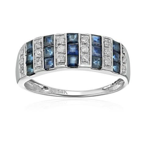 Pinctore 14k White Gold Blue Sapphire and Diamond Wedding Band Size 7