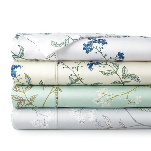 22-inch Extra Deep Pocket Luxury Cotton Myosotis 4-piece Bed Sheet Set
