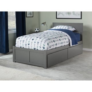 Orlando Twin Platform Bed with Flat Panel Foot Board and 2 Urban Bed Drawers in Atlantic Grey