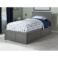 Nantucket Twin XL Platform Bed with Flat Panel Foot Board and 2 Urban Bed Drawers in Atlantic Grey