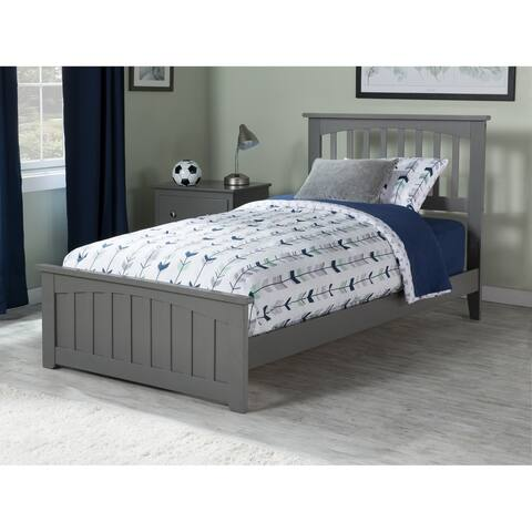 Mission Twin Traditional Bed with Matching Foot Board in Atlantic Grey