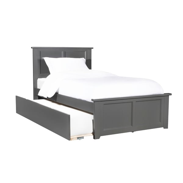 Madison Twin Platform Bed With Matching Foot Board With Twin Size Urban Trundle Bed In Atlantic Grey by Atlantic Furniture