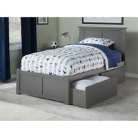 Madison Twin XL Platform Bed with Flat Panel Foot Board and 2 Urban Bed Drawers in Atlantic Grey