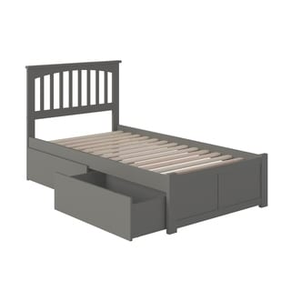 Mission Twin Platform Bed with Flat Panel Foot Board and 2 Urban Bed Drawers in Atlantic Grey