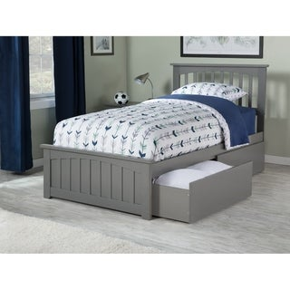 Mission Twin Platform Bed with Matching Foot Board with 2 Urban Bed Drawers in Atlantic Grey