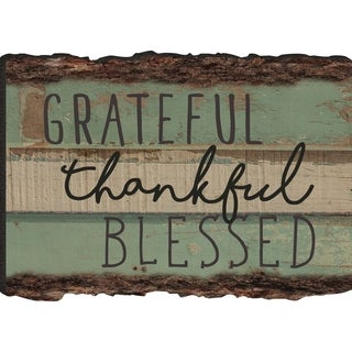 Grateful Thankful Blessed Rustic Bark Look Wood Sign Magnet