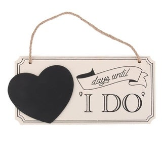 "WINOMO Wooden Heart Wedding Sign Countdown Chalkboard with ""days until I DO"""