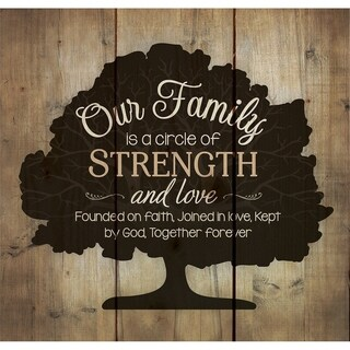Our Family Circle of Strength Rustic Tree 10 x 10 Wall Art Sign Plaque