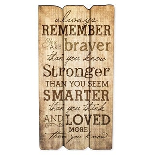 Always Remember You Are Stronger Braver Smarter 12 x 6 Wall Art Sign Plaque
