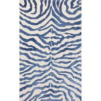 "Pasargad Edgy Hand-Tufted Bamboo Silk & Wool Zebra Rug (7' 9"" x 9' 9"") - N/A"
