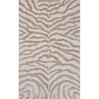 """Edgy Beige Hand-Tufted Bamboo Silk & Wool Zebra Rug (7' 9"""" x 9' 9"""") - 8' x 10'"""