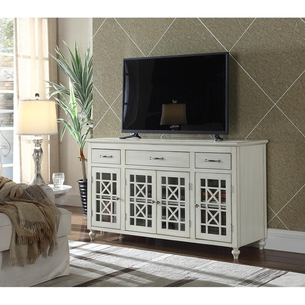 Shop Ladera 60 White Tv Stand Buffet 62 Inches Free Shipping