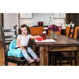Regalo Right Height Booster Seat Teal Top with Brown Legs