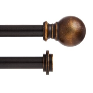 "Kenney 5/8"" Ball Double Decorative Window Curtain Rod, Oil Rubbed Bronze - 36-66"""