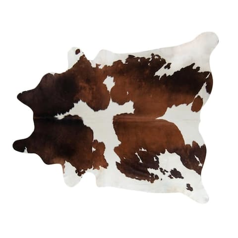 Pergamino Chocolate And White Cowhide Rug Large